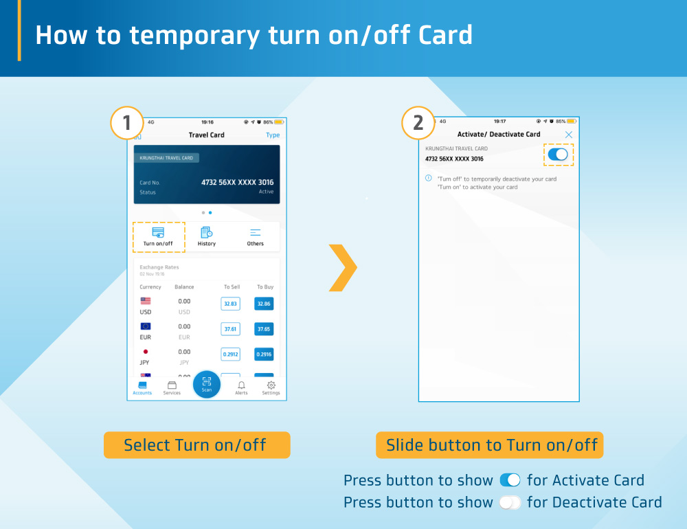 How to temporary turn on/off Krungthai Travel Card